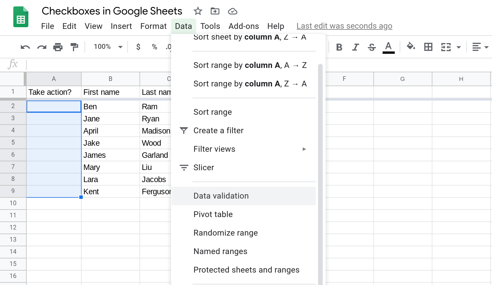 A screenshot of Google Sheets where a range is selected and the Data menu is open.