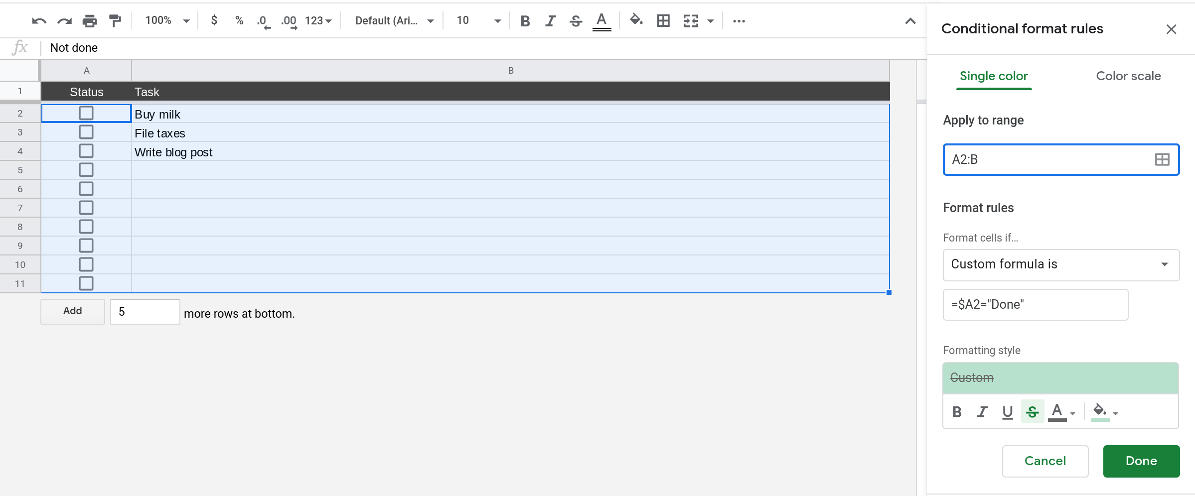 A screenshot of Google Sheets where the sidebar menu for configuring conditional formatting rules is open.