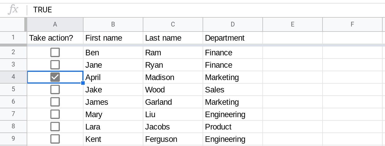 A screenshot of Google Sheets where column A contains checkboxes. The checkbox in cell A4 is checked.