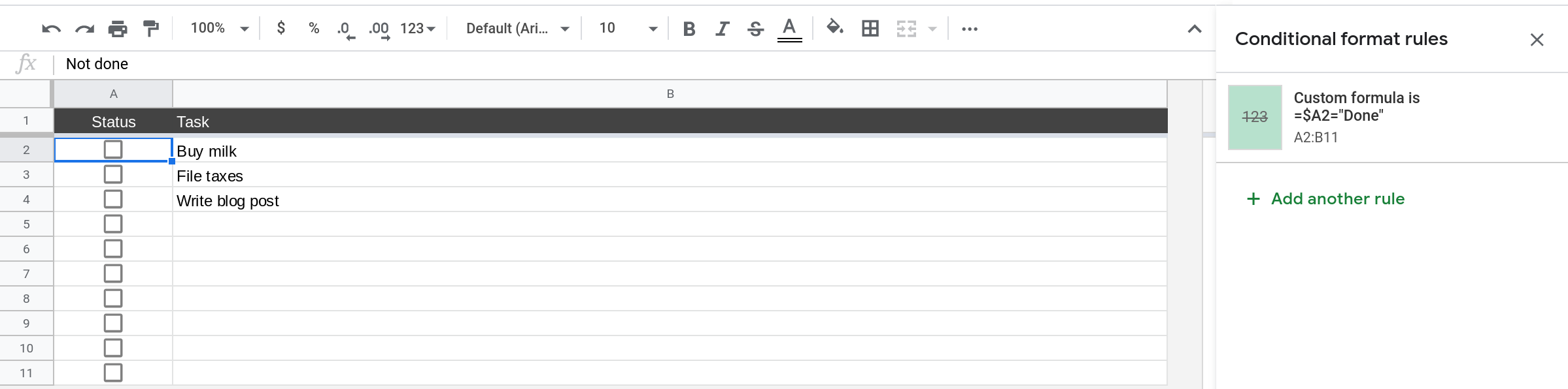 A screenshot of Google Sheets where the sidebar shows the conditional formatting rules that have been configured.