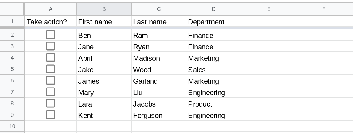 Screenshot of a Google Sheets spreadsheet with the range A1:F9 displayed. Column A contains checkboxes and all of them are unchecked.
