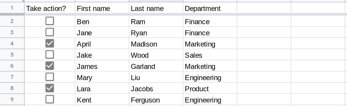 Screenshot of a Google Sheets spreadsheet with the range A1:F9 displayed. Column A contains checkboxes and cells A4, A6 and A8 are checked.