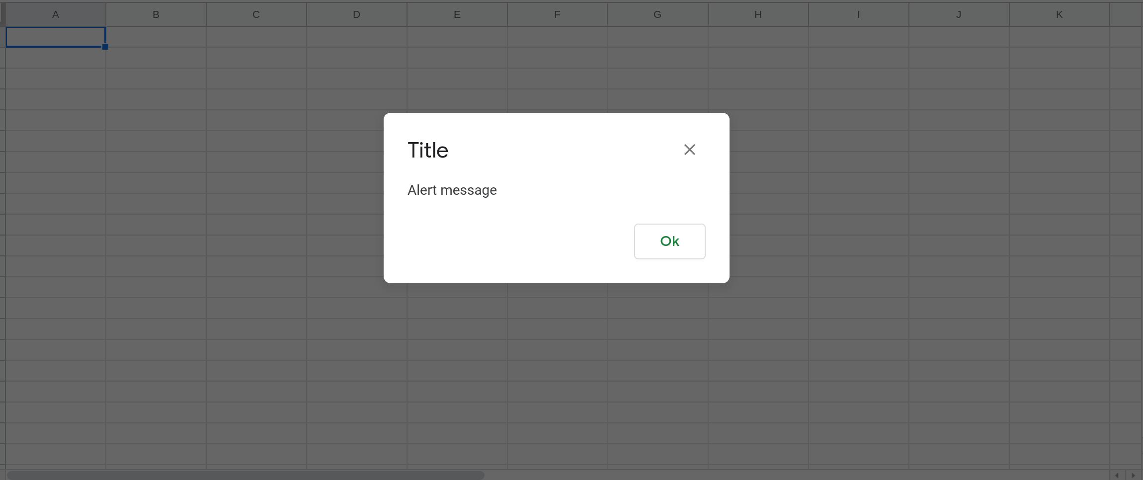 Screenshot of Google Sheets with an alert message displayed.