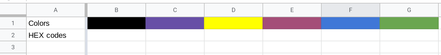 Screenshot of a Google Sheets spreadsheet where the first few cells in Row 1 have been filled with different colors.