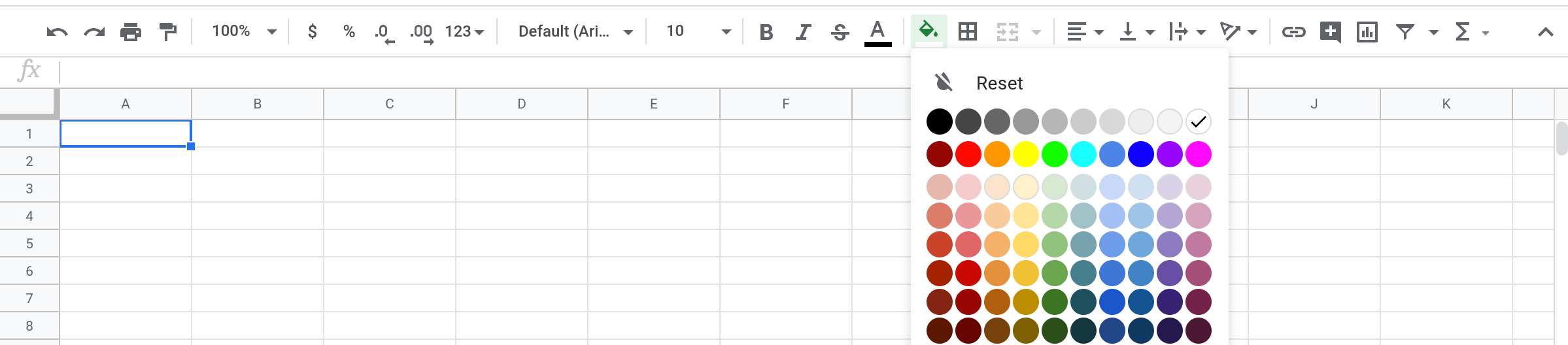 A screenshot of the color picker in Google Sheets.