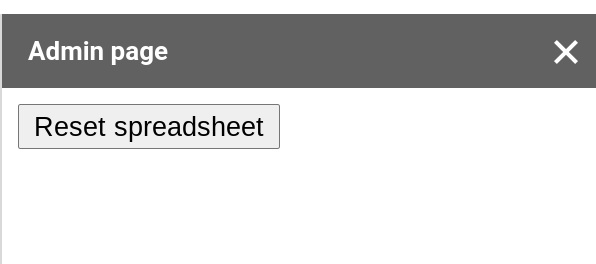 Screenshot of a Google Sheets spreadsheet with a custom sidebar that has a button called Reset spreadsheet.