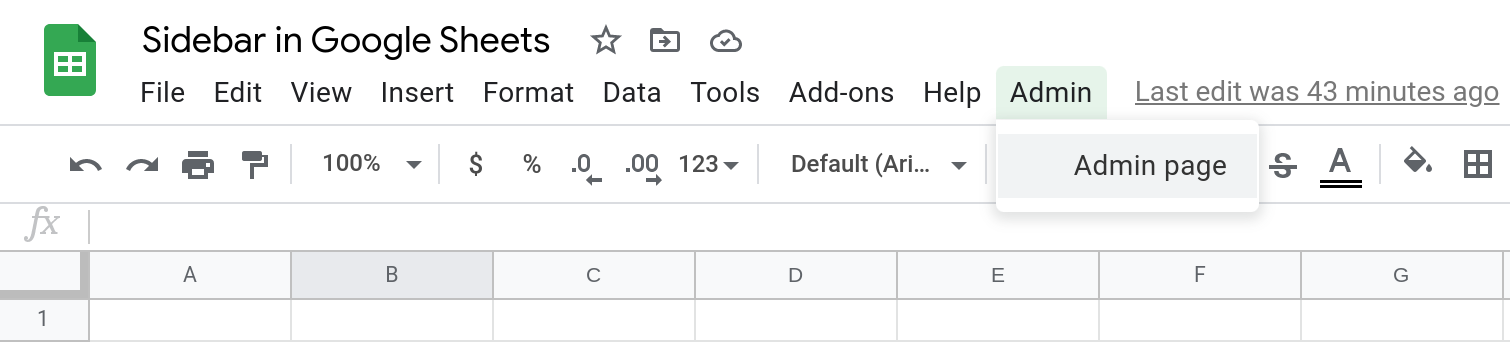 Screenshot of a Google Sheets spreadsheet that shows a custom menu called Admin. The menu is open and a menu item called Admin page is selected.