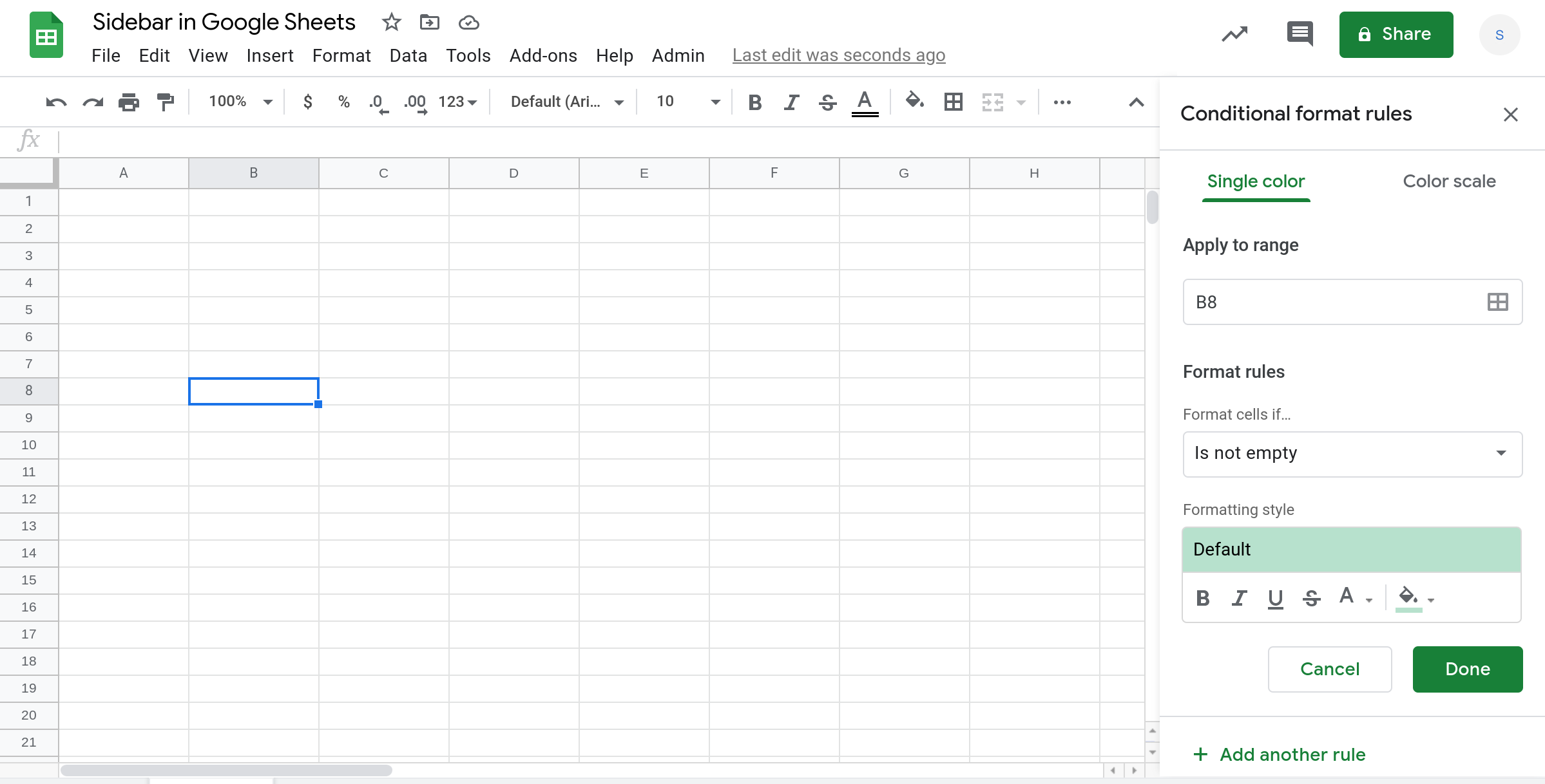 Screenshot of a Google Sheets spreadsheet with the conditional formatting sidebar open.