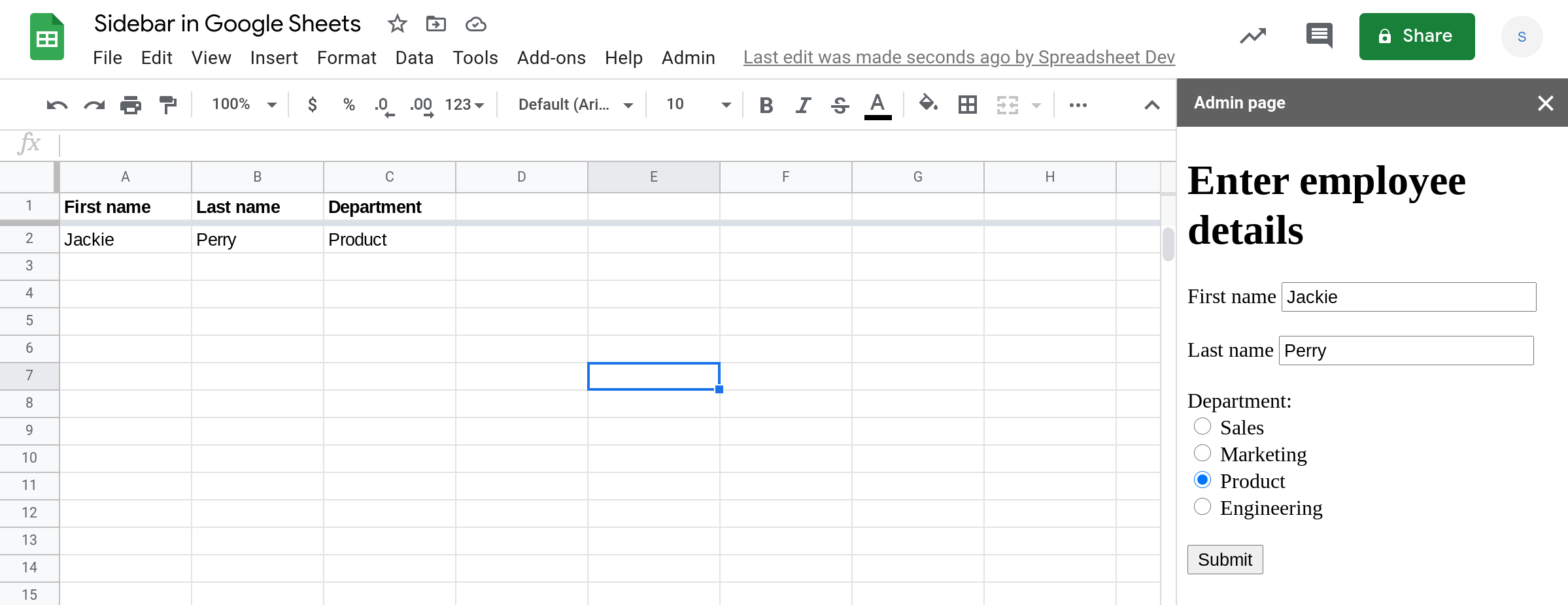 A screenshot of a custom data entry form in a sidebar in Google Sheets.