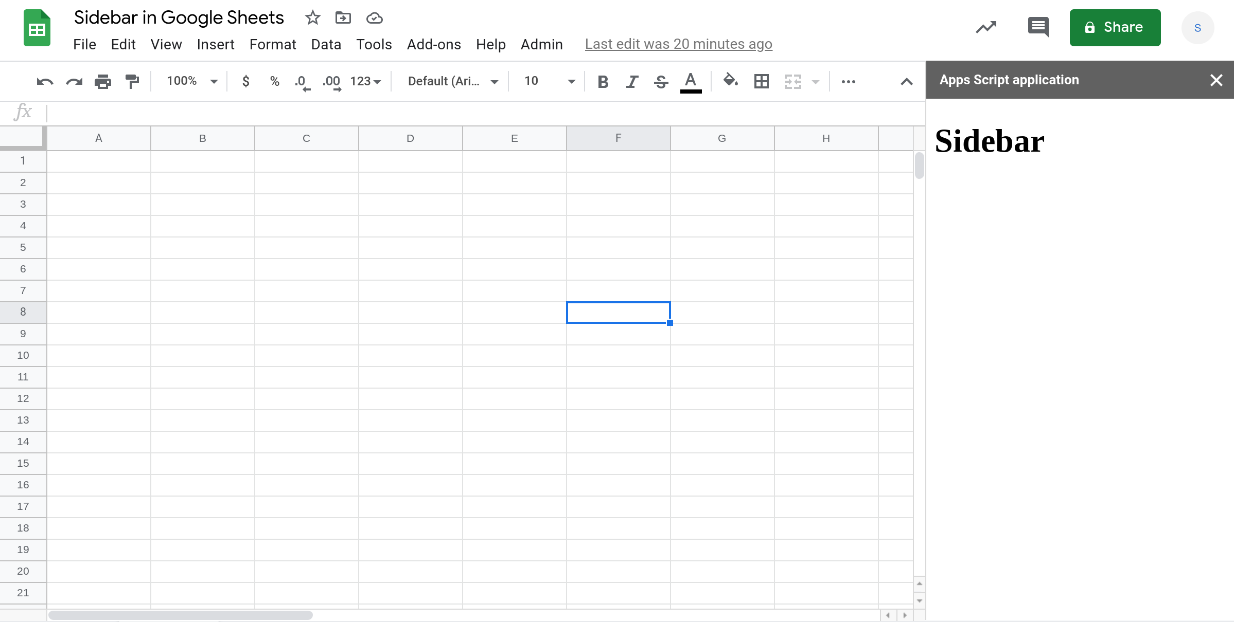 Screenshot of a Google Sheets spreadsheet with a custom sidebar.