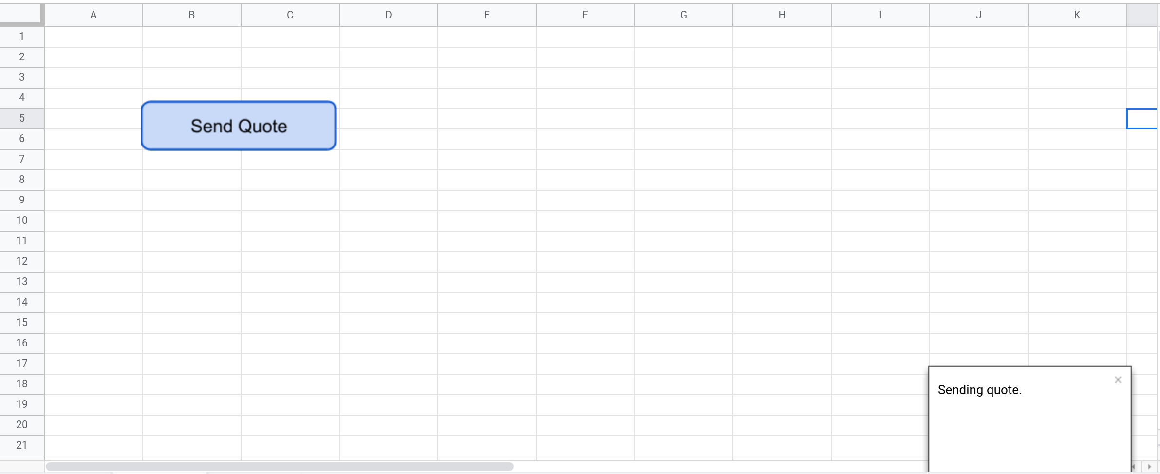 Screenshot of a Google Sheets spreadsheet with a toast notification displayed.
