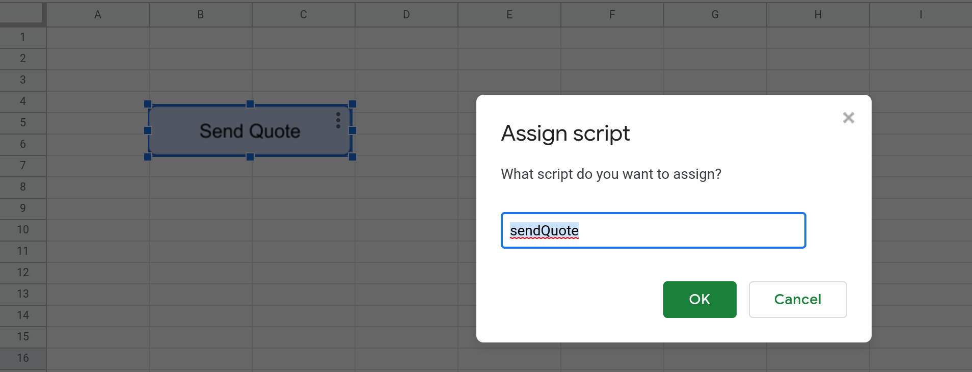 Screenshot of the modal dialog in Google Sheets where you specify the name of the function to be run whenever the button is clicked.