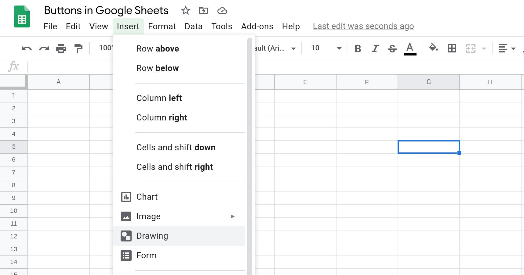 Screenshot of a Google Sheets spreadsheet with the Insert menu open.