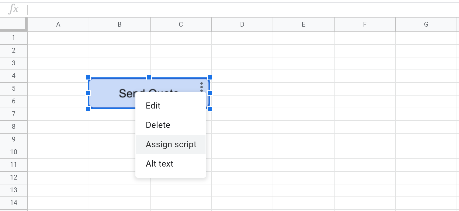Screenshot of a Google Sheets spreadsheet with a button selected. The three dots menu is selected.