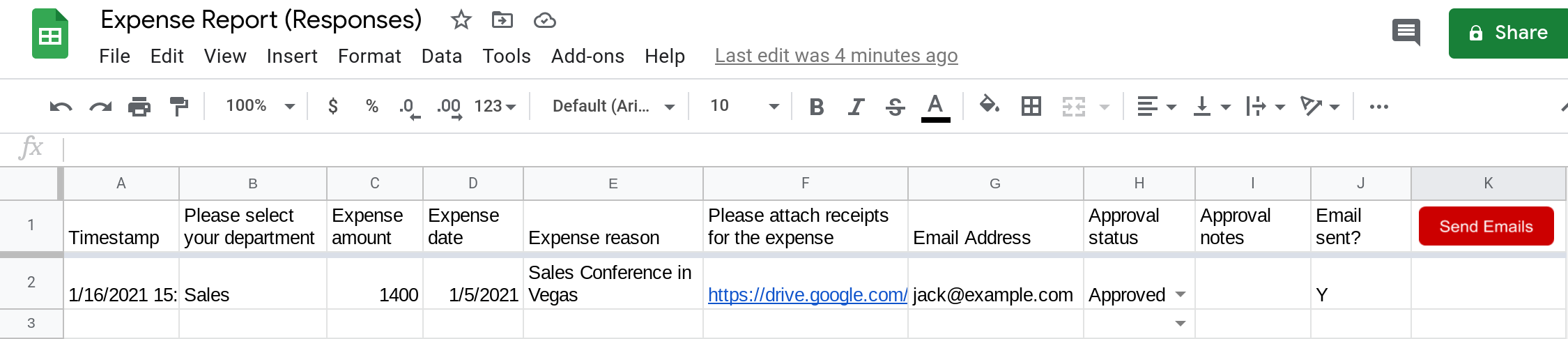 Screenshot of a Google Sheets spreadsheet with a drawing inserted in it that looks like a button.