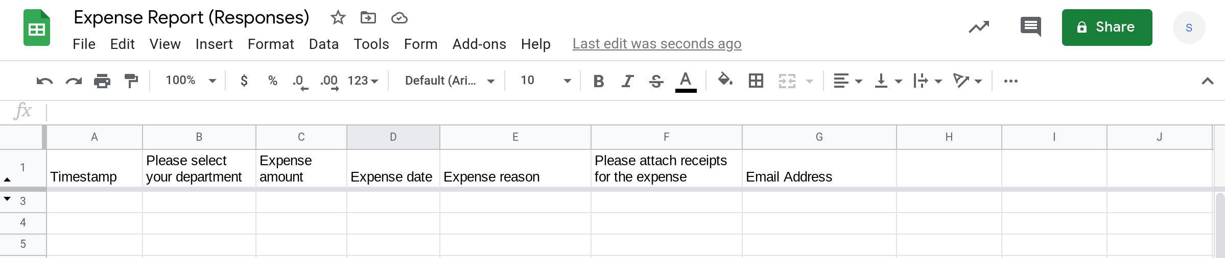 Screenshot of a Google Sheets spreadsheet with columns corresponding to the fields of a Google Form.