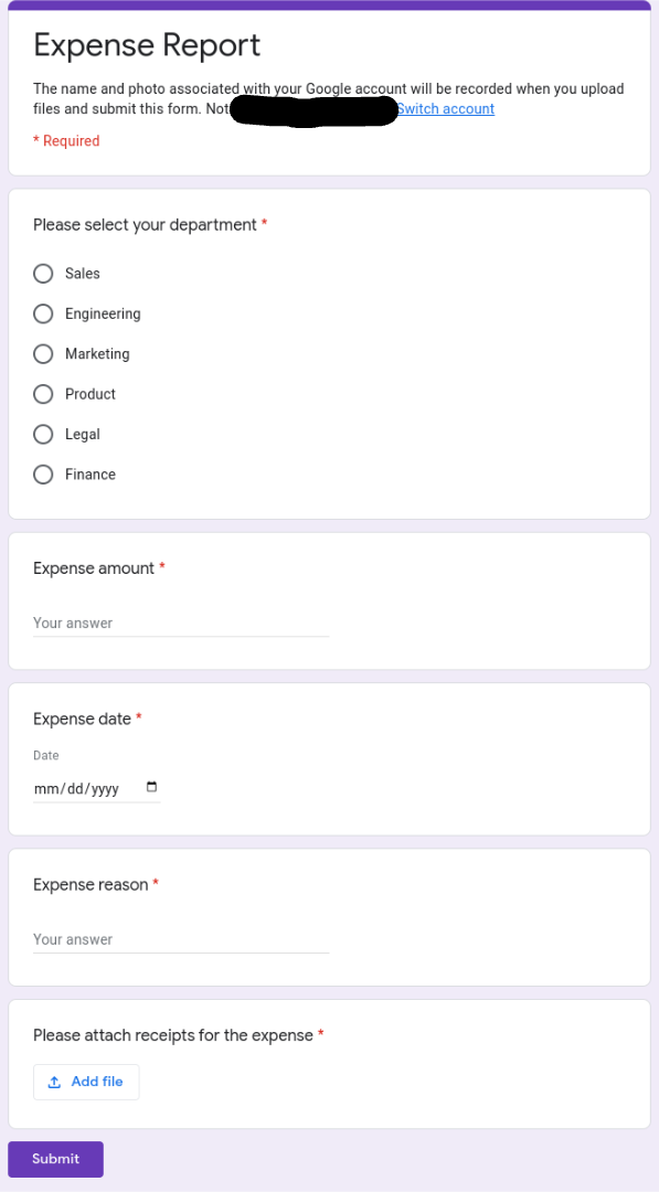 Screenshot of a Google Form for employees to submit an expense report.