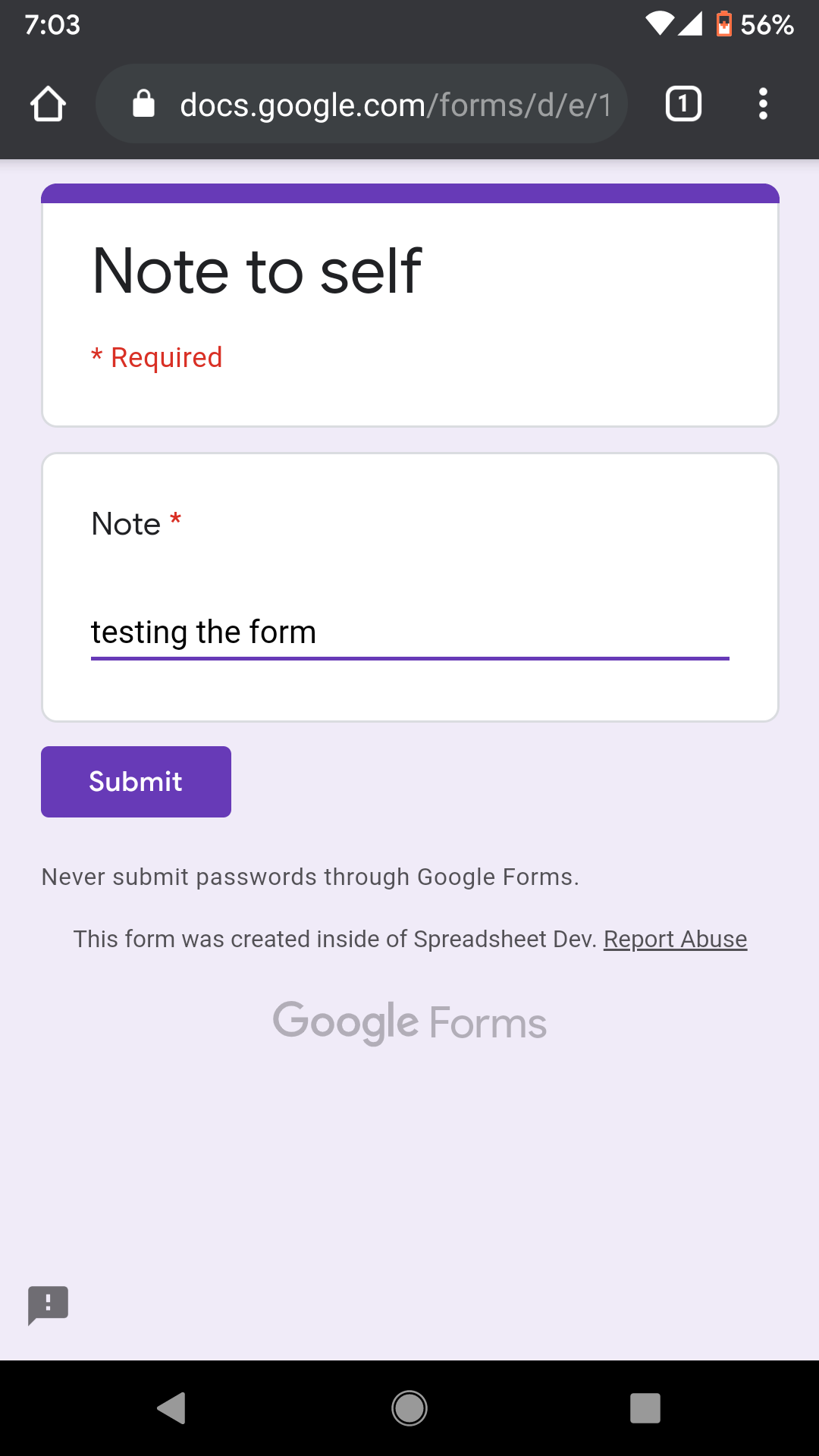 Screenshot of a Google Form opened in the Google Chrome browser on an Android hone.