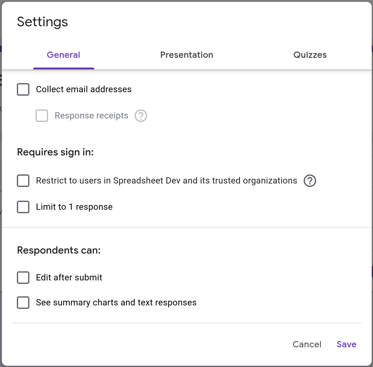 Screenshot of the General tab in the settings page of a Google Form.