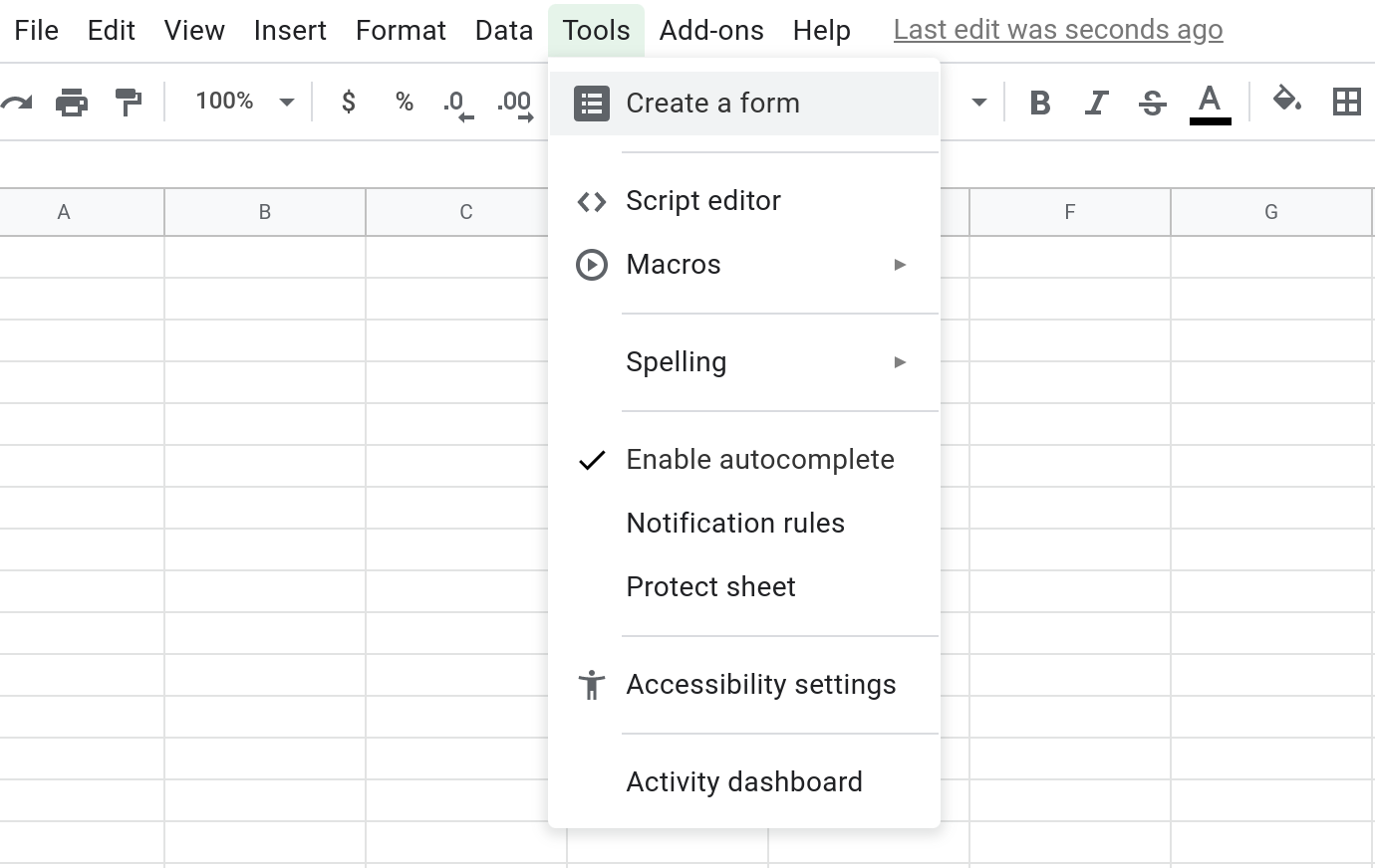"Screenshot of the Tools menu in Google Sheets with the ""Create a form"" menu item highlighted."