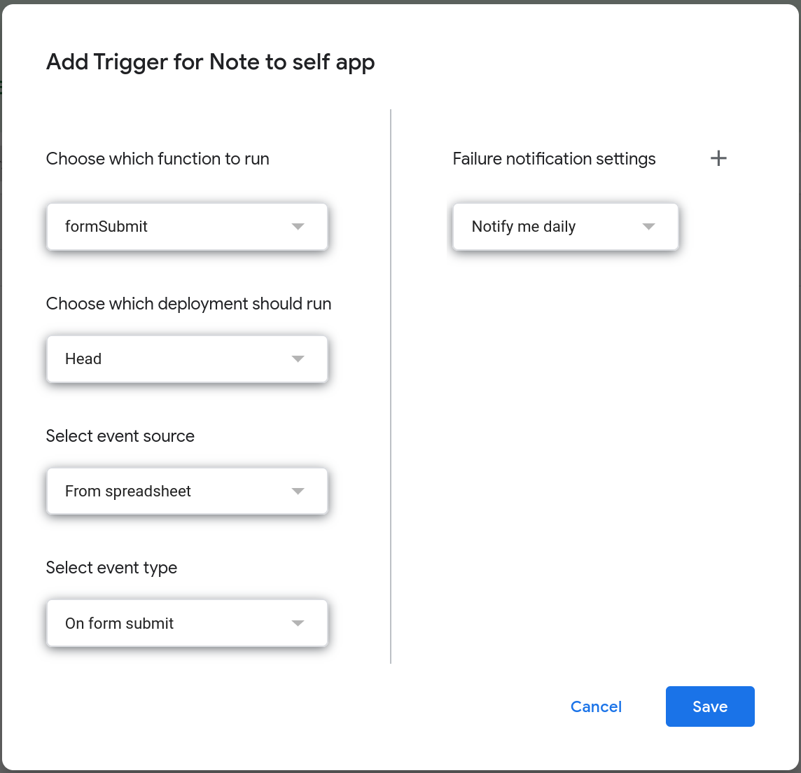 "Screenshot of the ""Add Trigger"" popup dialog that displays the various settings to configure a trigger."