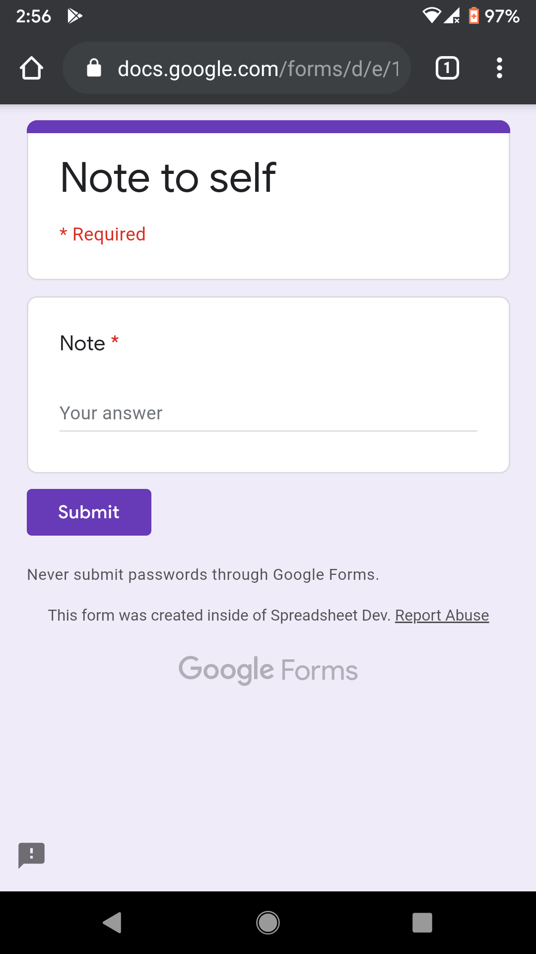 Screenshot of a Google Form that is opened in the Chrome browser on an Android phone.