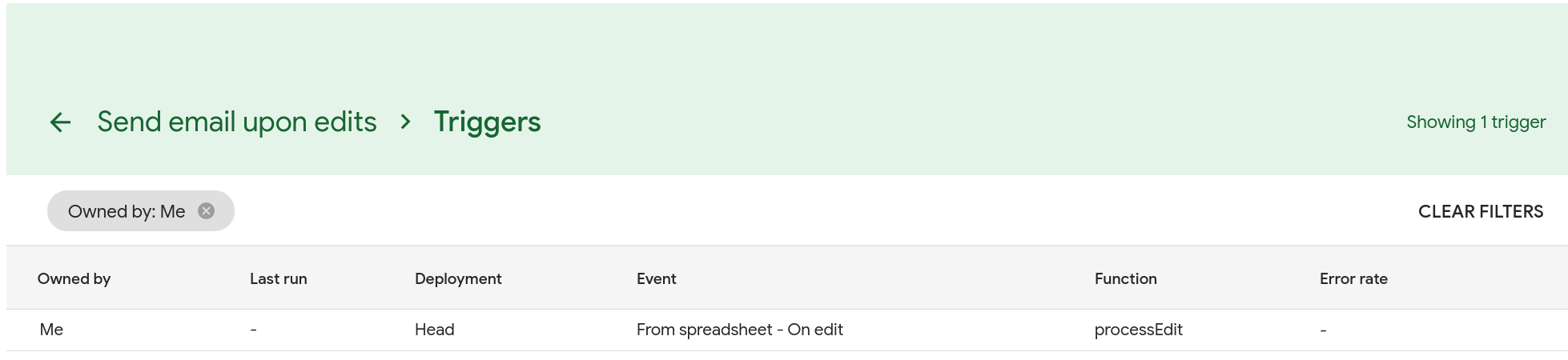 Screenshot of the Triggers page. The trigger you just created is listed on the page.