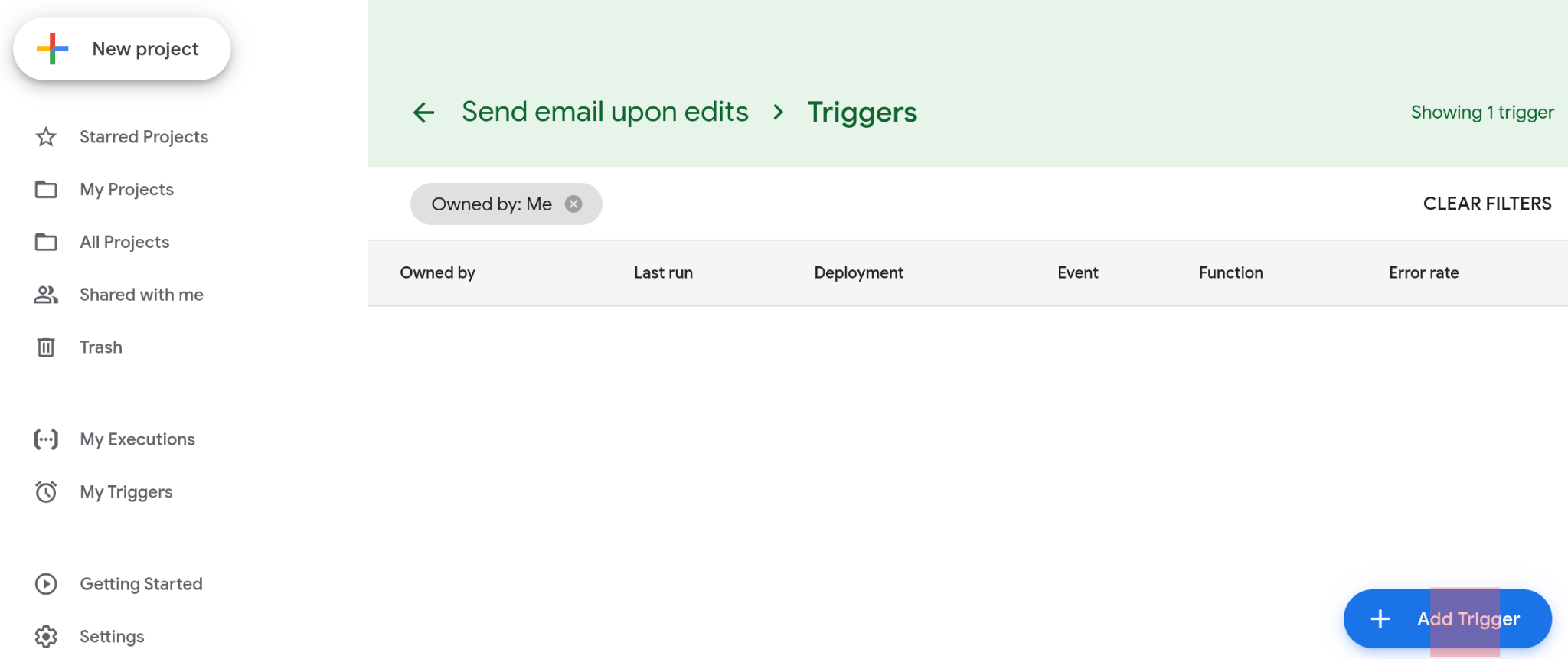 Screenshot of the triggers page. No triggers have been set up so the page is empty.