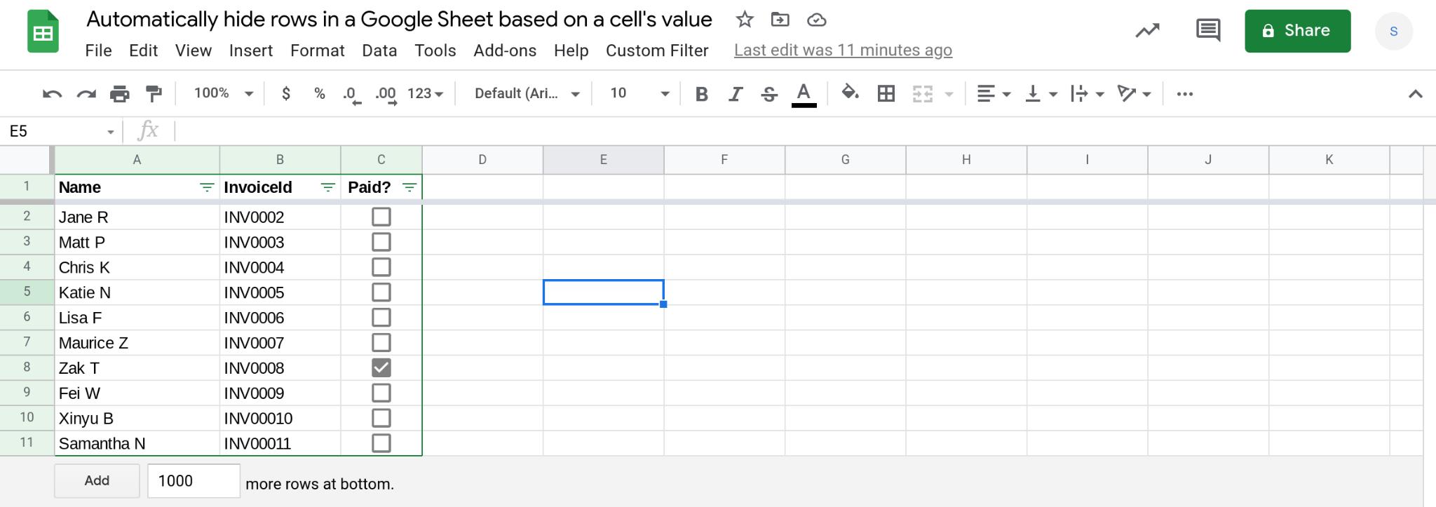 A screenshot of a Google Sheets spreadsheet.