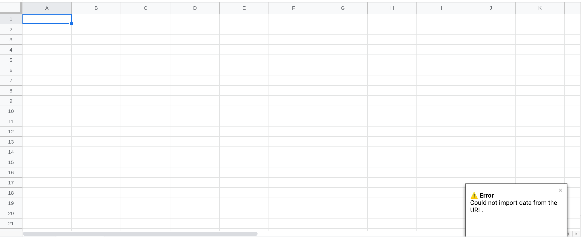 A screenshot of Google Sheets showing a toast notification in the lower right corner.