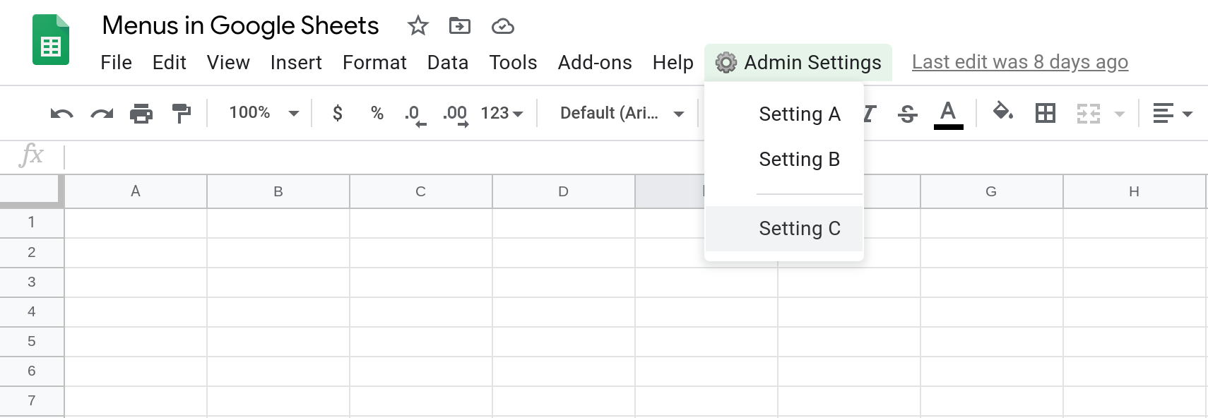 Screenshot of a Google Sheets spreadsheet showing a custom menu with three menu items. A line separator separates the third menu item from the first two.