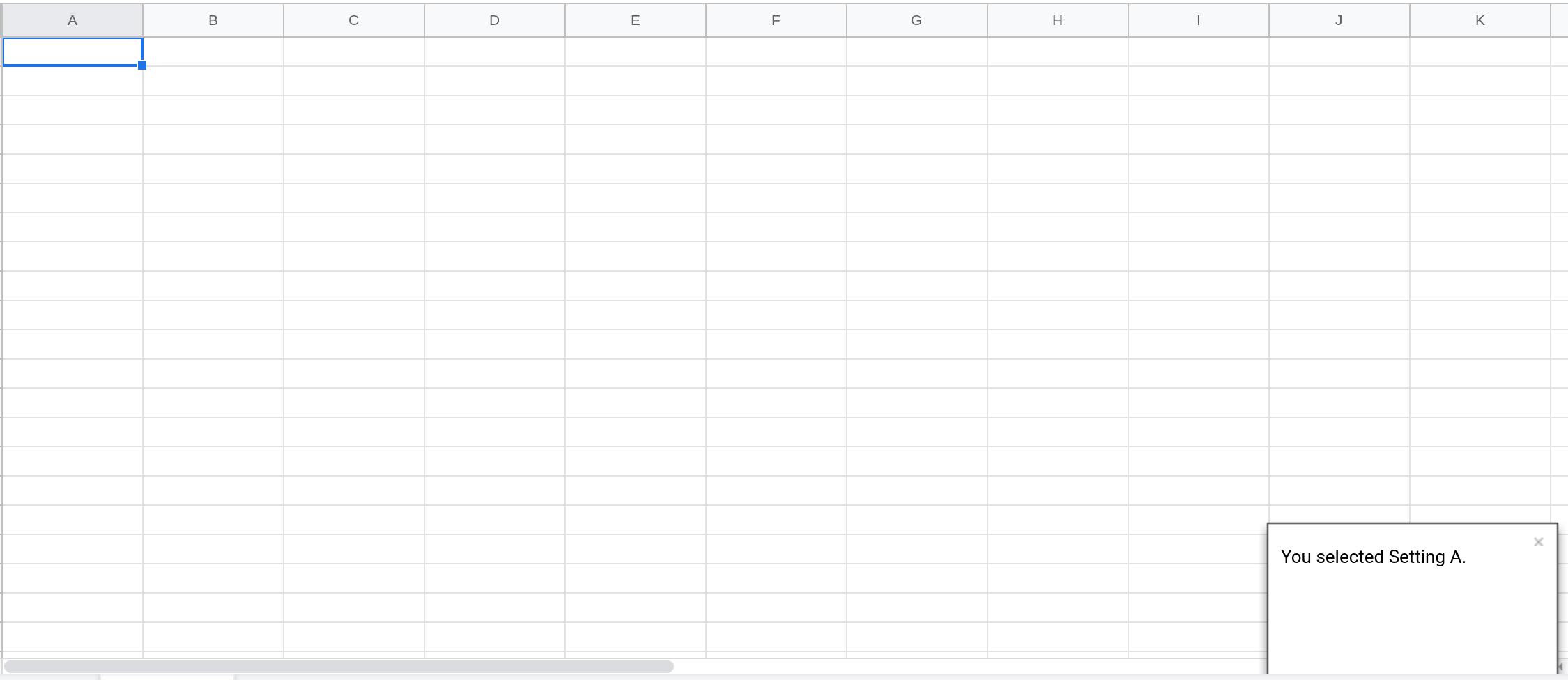 Screenshot of a Google Sheets spreadsheet with a toast notification displayed in the lower right hand corner.