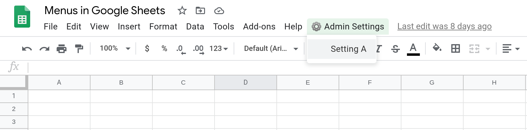 Screenshot of a Google Sheets spreadsheet showing a custom menu with a single menu item.