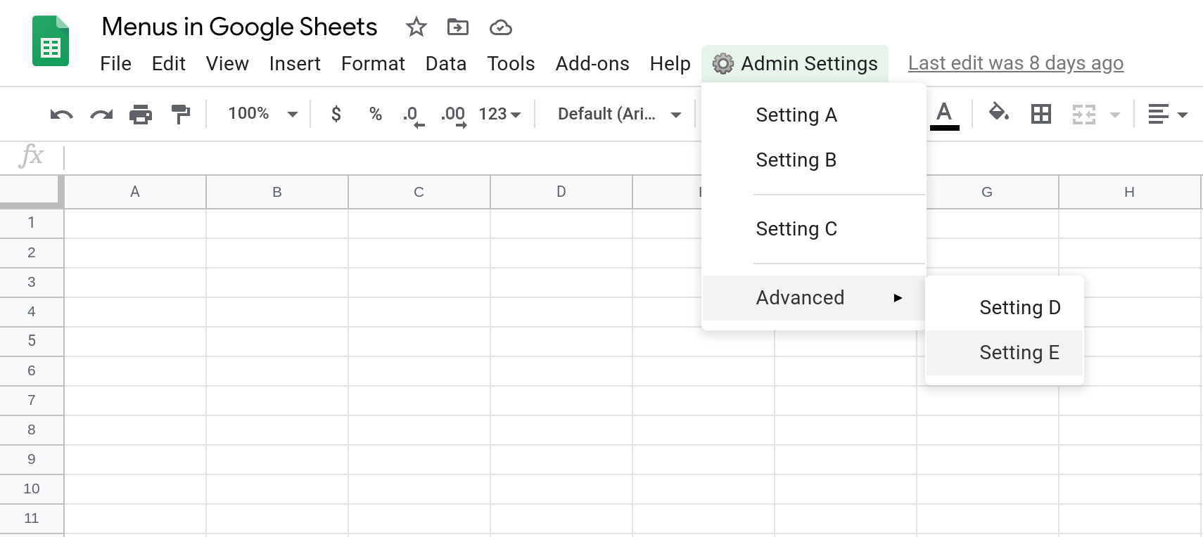 "Screenshot of a Google Sheets spreadsheet showing a custom menu with a sub menu called ""Advanced""."