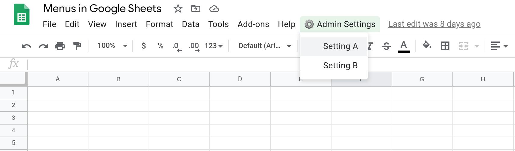 Screenshot of a Google Sheets spreadsheet showing a custom menu with two menu items.