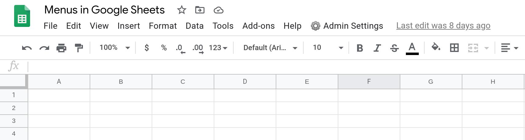 Screenshot of a Google Sheets spreadsheet showing a custom menu.