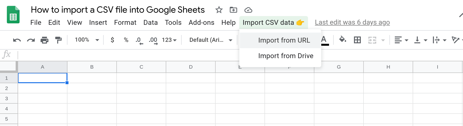 Screenshot of a Google Sheet with a custom menu that has two menu items: a) Import from URL and b) Import from Drive.