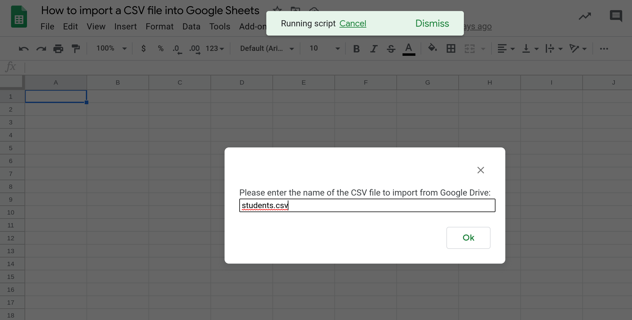 Screenshot of a prompt dialog asking the user to enter the name of the CSV file they want to import from Google Drive.