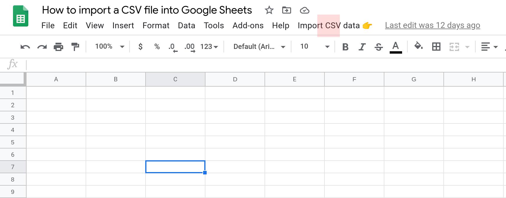 Screenshot of a Google Sheet with a custom menu.