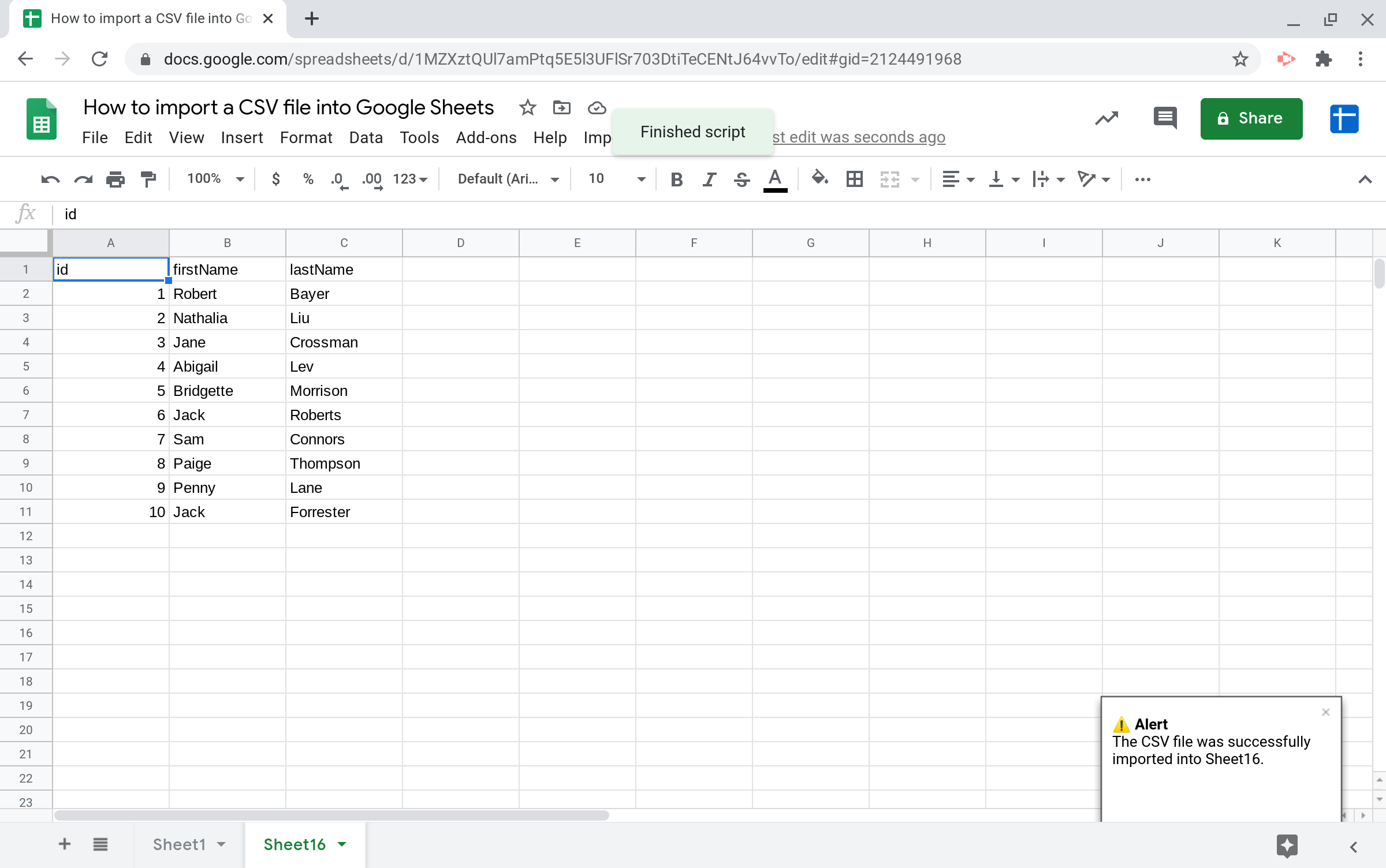 Screenshot of the sheet where the CSV file
