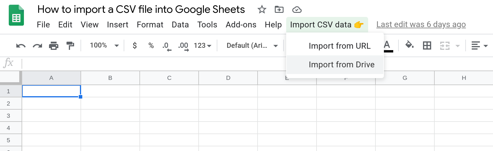 Screenshot of a custom menu in a Google Sheet with a menu item selected.
