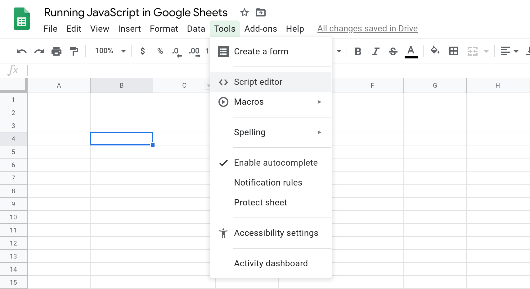 A screenshot of the Google Sheets UI that shows the Tools menu open with the Script Editor menu item selected.