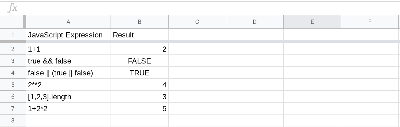 A screenshot of a spreadsheet displaying the results of evaluating JavaScript expressions using the RUNJS function.