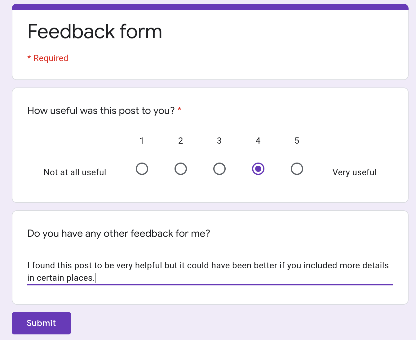 Screenshot of a Google Form with two questions in it.