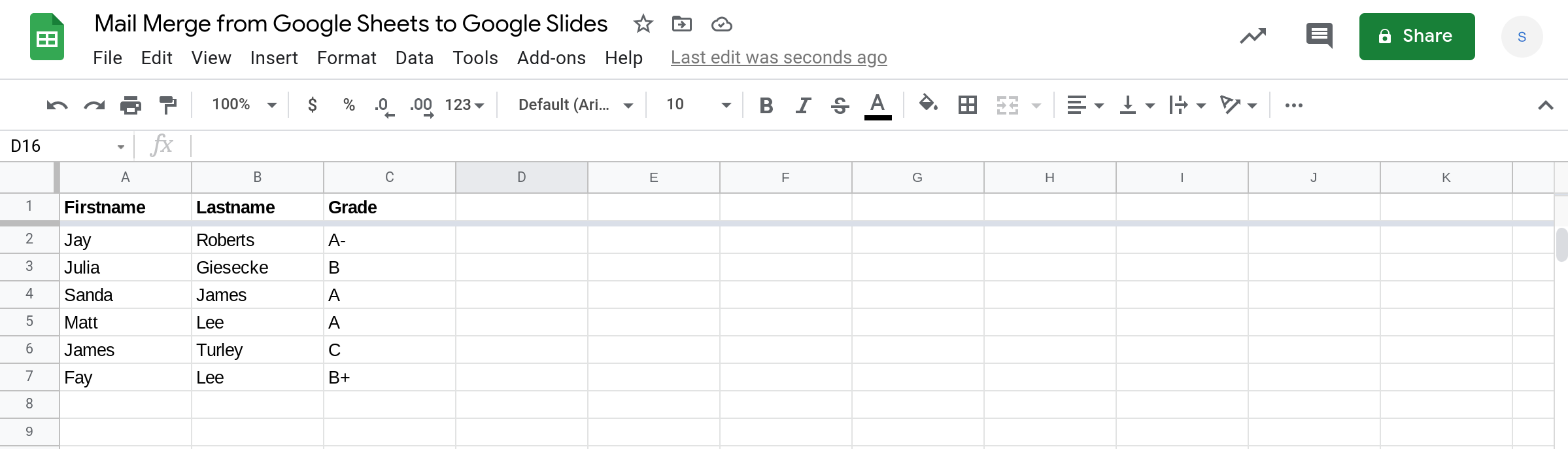 Screenshot of a Google Sheets spreadsheet.
