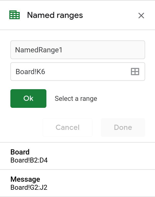 Screenshot of the Named Ranges sidebar menu.
