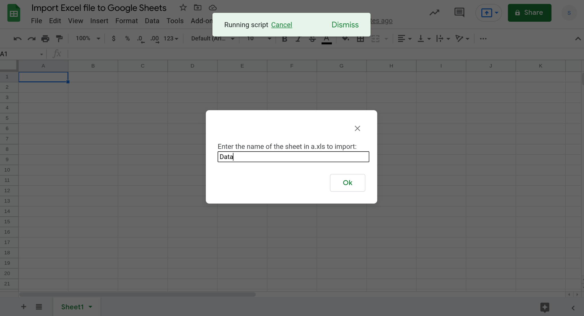 Screenshot of a Google Sheets spreadsheet displaying a prompt.