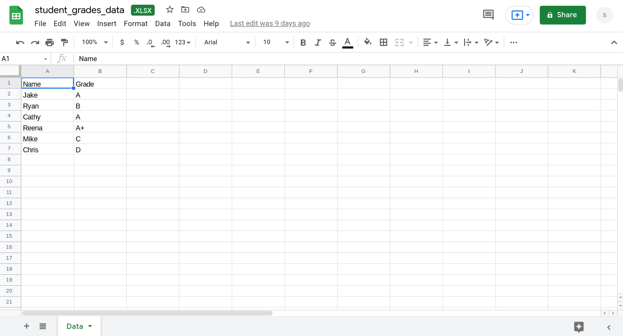 Screenshot of a sheet called Data in an Excel file. The sheet contains information about the grades of six students.