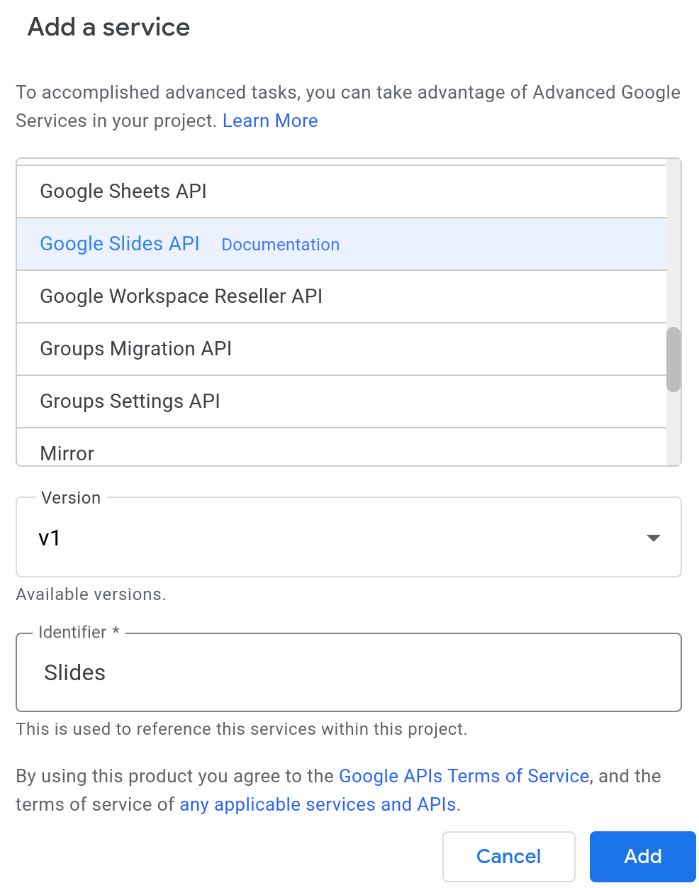 Screenshot of the Add Service dialog in the Apps Script editor.