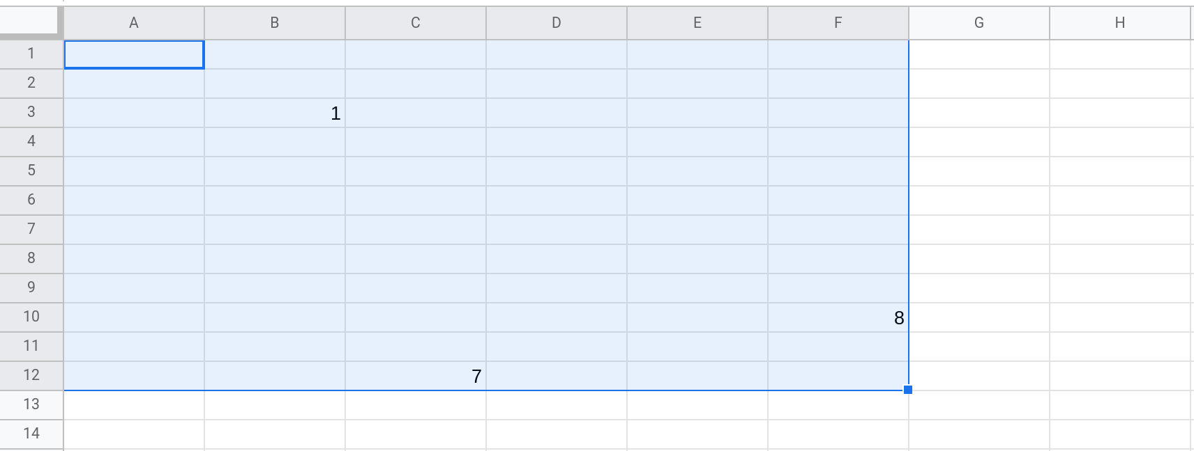 Screenshot of a Google Sheets spreadsheet showing the range A1:F12 selected.